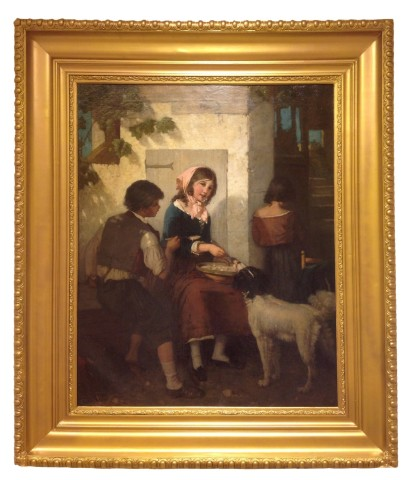 Young children giving a soup to a dog