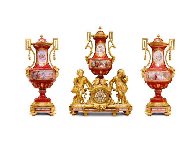 A Sèvres style gilt bronze three clock garniture