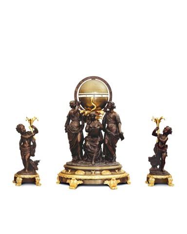 A Louis XV Style three-piece Clock Garniture