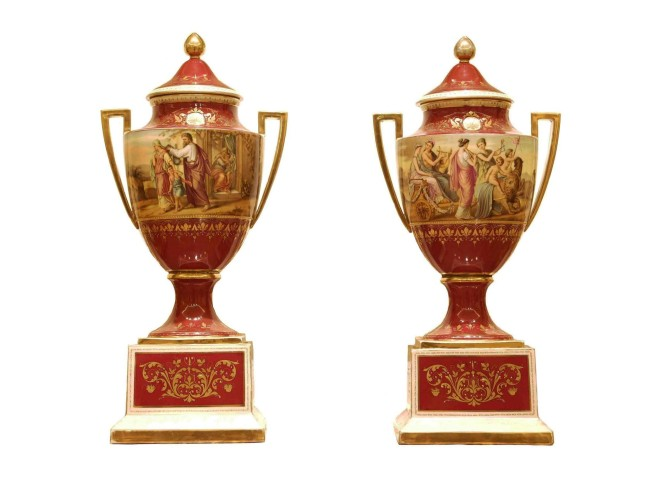 Pair of Vienna style vases with covers