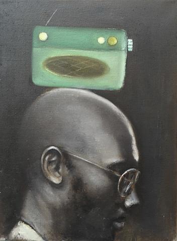 MAN WITH GREEN RADIO