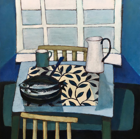 Nigel Sharman, Still Life with Mackerel and Jug