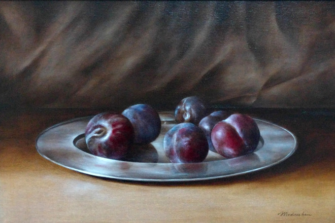 Plums on Silver Platter