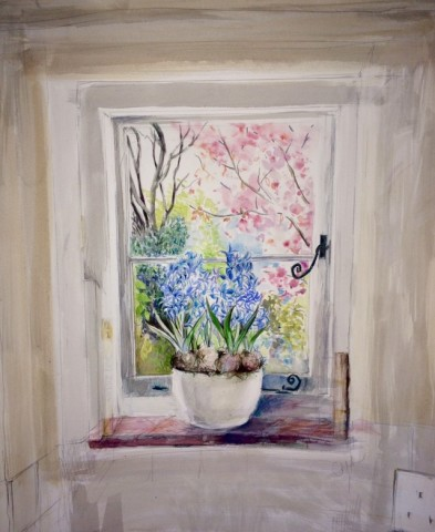 Dorothea Carr, Cottage Window Blue Hyacinths