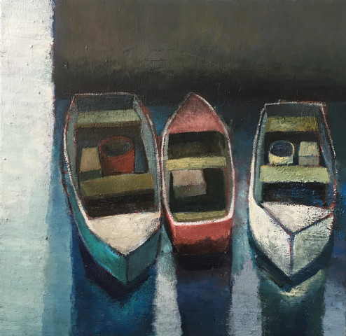 Nigel Sharman, Three Moored Boats (Study)