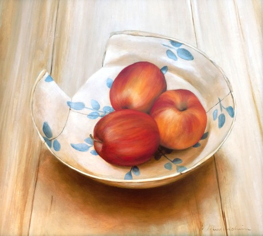 Tanja Moderscheim, Apples on a 17th century Haarlem faience plate