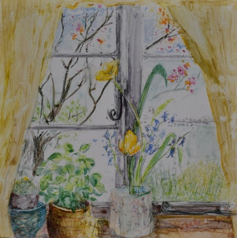 Cottage Window, Tulips and Basil