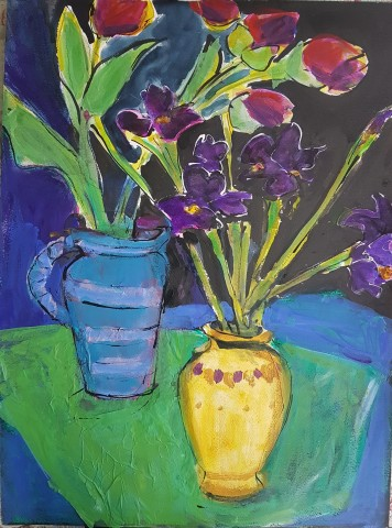 Edwina Broadbent, Irises and Tulips
