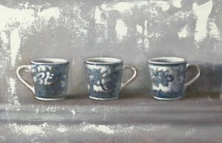 Diane Urwin, Blue And White Coffee Cups