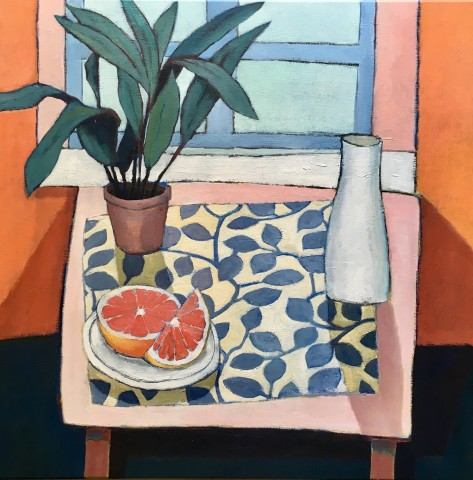 Nigel Sharman, Still Life with Carafe and Pink Grapefruit