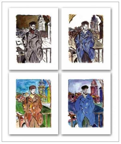 Man On A Bridge (set of 4)