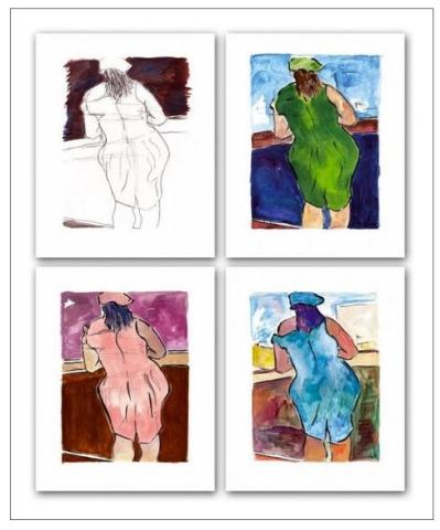 Woman In Red Lion Pub (set of 4)