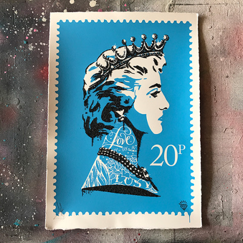 JJ Adams, Princess Diana Stamp (blue), 2017