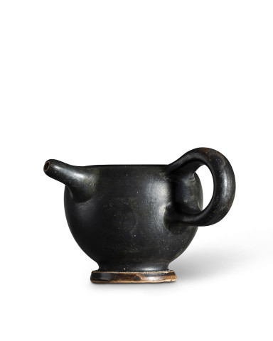 Greek black-glaze feeder vase, Athens, c.450-425 BC