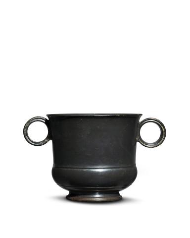 Greek black-glaze two-handled mug, Athens, c.450-400 BC