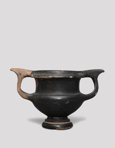 Greek black glaze kantharos, Athens, c.320-300 BC
