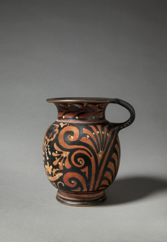 Greek red-figure mug with female head, Apulia, c.340-320 BC, by the Stoke-on-Trent painter