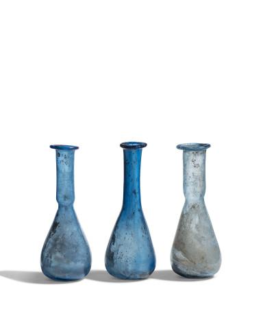 Three Roman blue unguentaria, c.1st century AD