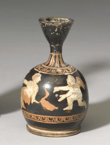 Greek red-figure miniature lekythos, Athens, c.400 BC