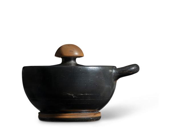 Greek black-glaze lidded cup, Athens, c.450-430 BC