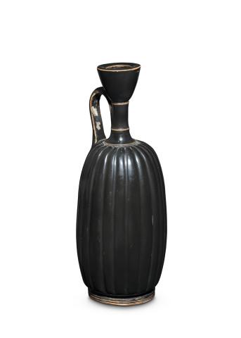 Greek black-glaze ribbed lekythos, Athens, mid 4th century BC