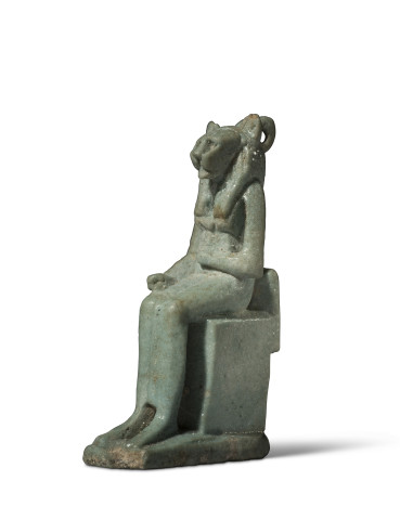 Egyptian amulet of an enthroned Sekhmet, Late Dynasty Period, c.664-332 BC