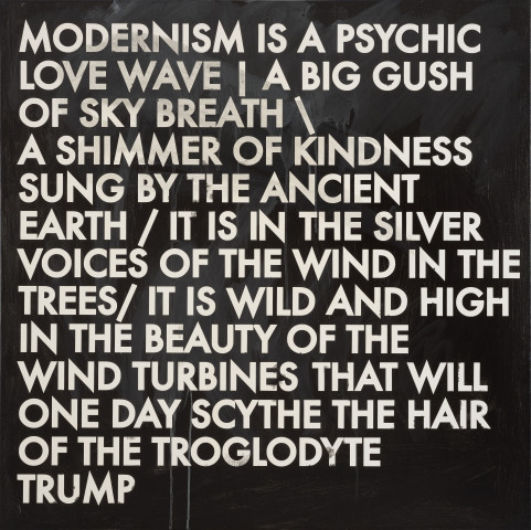 Robert Montgomery, Hammersmith Poem/Malevich Painting (Modernism Is A Psychic Love Wave), 2017