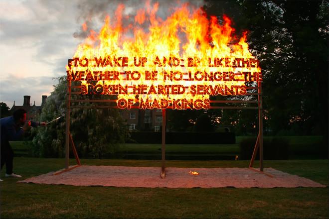 Robert Montgomery, Great Fosters Fire Poem , 2013