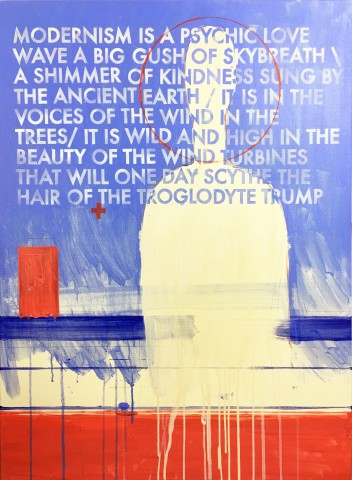 Robert Montgomery, Hammersmith Poem/Malevich Painting (Modernism Is A Psychic Love Wave), 2107