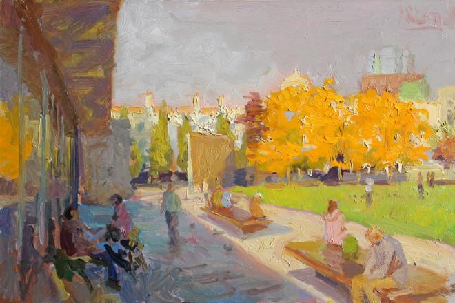Norman Long MAFA, Autumn Blaze Piccadilly Gardens