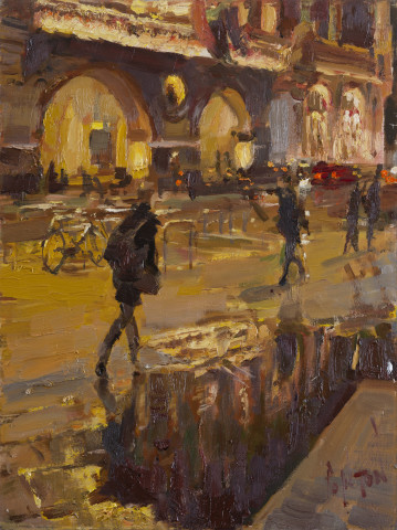 Rob Pointon ROI RBSA MAFA, Puddle in front of The Midland, Nocturne, 2020