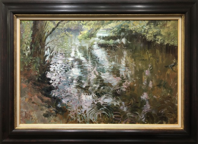 Rob Pointon ROI, Raindrops on the Pond, 04/2020