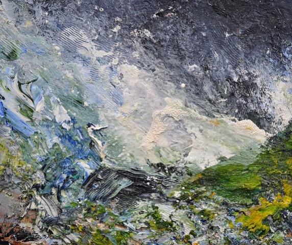 Green Hillside, Rock, Sleet