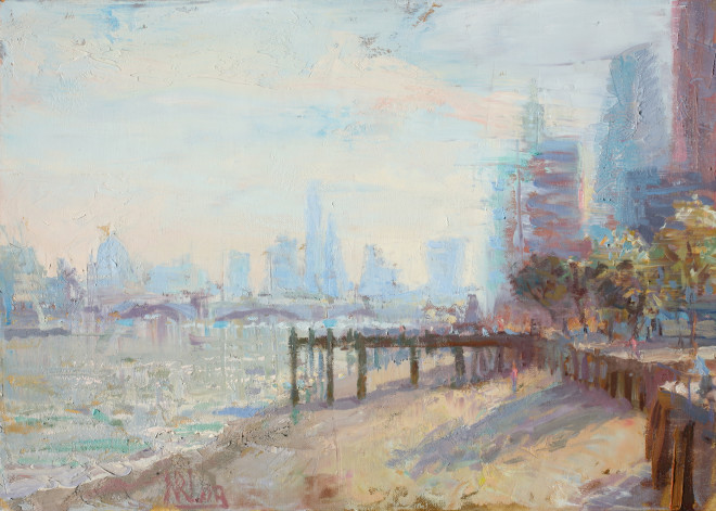 Norman Long MAFA, The City from Southbank, 2020