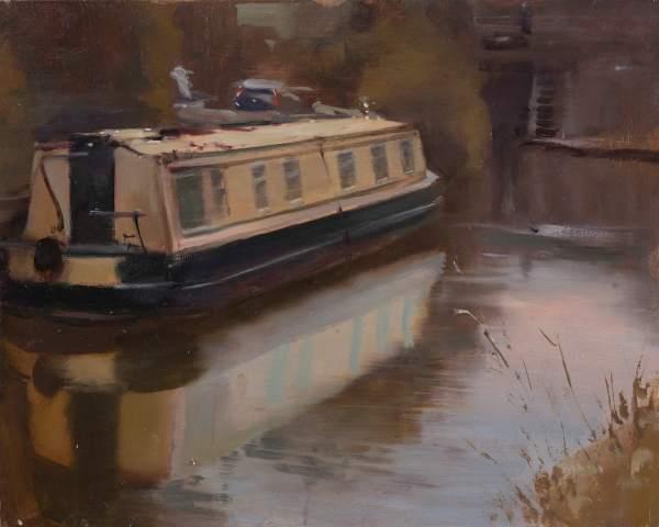 Rob Pointon ROI, Narrowboat Reflection, 06/2020
