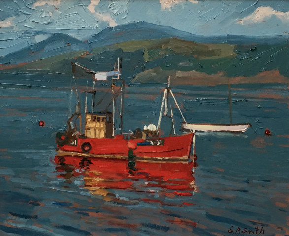 Steven Smith, Red Boat on Loch Long, Ardentinny, Scotland