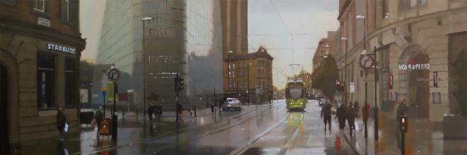 Michael Ashcroft AROI MAFA, Sunset on Corporation Street, Manchester