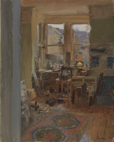 Peter Brown ROI NEAC, The Studio, Lamp Light