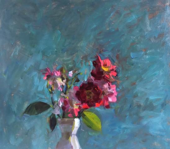 James Bland NEAC, Crimson Roses on Blue