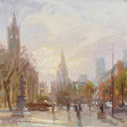Norman Long MAFA, Winter Sun, Albert Square, 2020