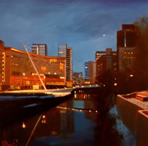 Moon Over the Water, Trinity Bridge, Manchester