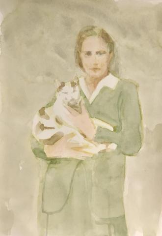Linda Schwab, Woman with Cat, 2020