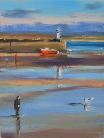 Liam Spencer, St Ives Harbour with Dalmatian