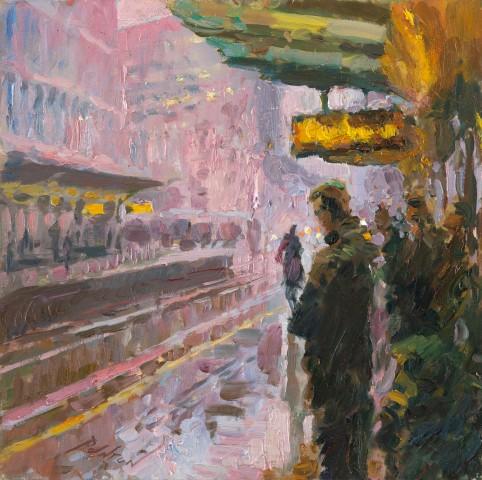 Rob Pointon ROI, Tram Platform in the Rain, 03/2020