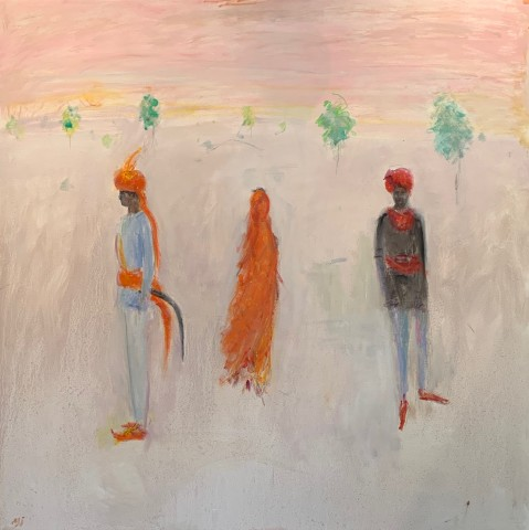Ann Shrager, Two Men and a Lady in an Orange Sari (Hungerford Gallery)
