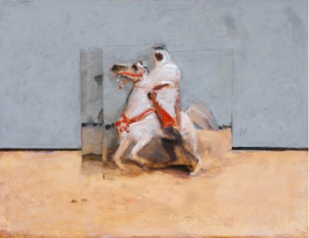 Antoine de La Boulaye, Orientalist Horseman - Grey Background