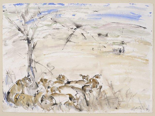 Christine Seifert, Lions under a tree (Unframed)