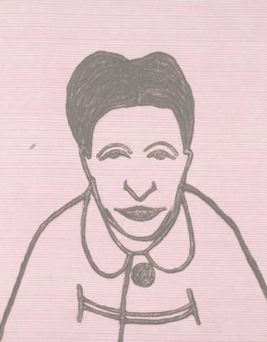 Kate Boxer, Simone de Beauvoir (Mounted)