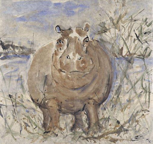 Christine Seifert, Hippo Watching (Framed) (London Gallery)