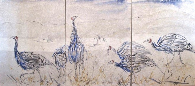 Christine Seifert, Guinea Fowl (Triptych) (London Gallery), 2015